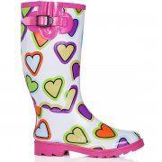 ARCTIC Flat Festival Wellies Rain Boots - White Heart