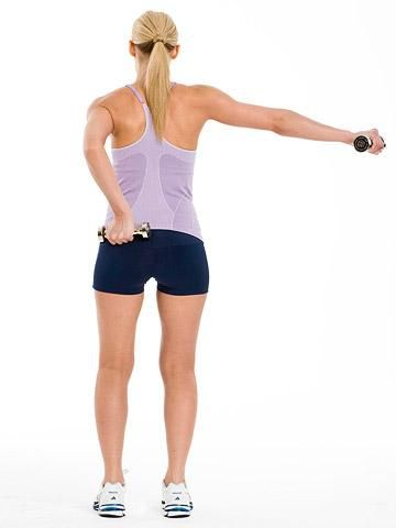 Tone Your Arms in 3 Moves | Fitness Magazine  Back Touch  Targets: Back, shoulders, biceps      Stand with feet hip-width apart, arms extended out to sides, a dumbbell in each hand.     Bring arms about 1 foot behind you (diagonal to shoulders).     Bend left elbow and touch back with dumbbell; return.     Do 30 reps, alternating sides.