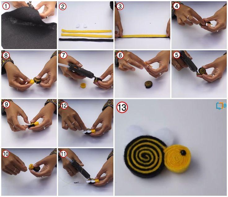 Cara Membuat Bros Lebah Dari Kain Flanel
