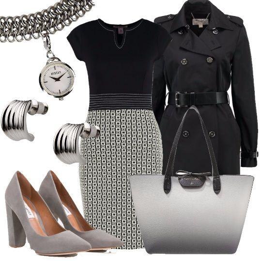 L'+outfit+è+ideale+per+una+giornata+di+lavoro+in+ufficio.+E'+composto+da+un+tubino+nero+con+gonna+stampata+ed+un+trench+nero,+molto+femminile,+fermato+in+vita+da+una+cintura.+La+borsa,+una+shopping+bag,+cangia+dalle+nuance+del+nero+e+grigio,+e+le+décolletè,+con+comodo+tacco+largo,+sono+di+un+grigio+argento.+Completano+il+look+degli+orecchini+con+chiusura+a+perno+ed+un+orologio+a+bracciale+silver.+Un+outfit+rigoroso+ma+che+non+rinuncia+allo+stesso+tempo+allo+stile.