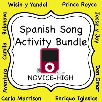 HUGE bundle of grammar activities based on popular music for Spanish students in their 2nd or 3rd year of language study