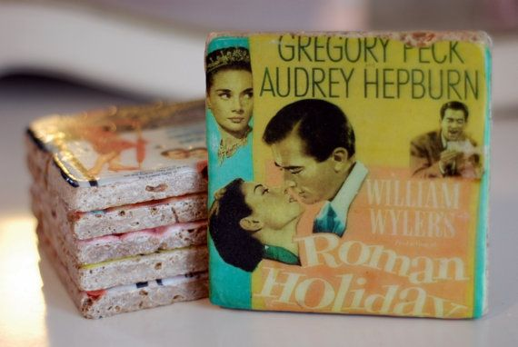 Audrey Hepburn Movie Poster Italian Marble Coasters