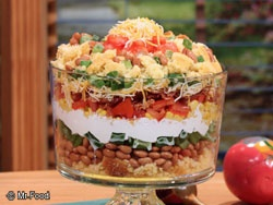 Mexican Corn Bread Salad is a colorful layered salad that tastes like a fiesta in a bowl. This novel summer salad looks as awesome as it tastes. Whether for company or to add tasty excitement to your mealtime routine, raves will be coming your way!    Serves: 8    Preparation Time: 5 min	    Chilling Time: 2 hr: Mexican Corn, Fun Recipes, Layered Salad, Mexicans, Bread Salad, Cornbread, Breads, Corn Bread