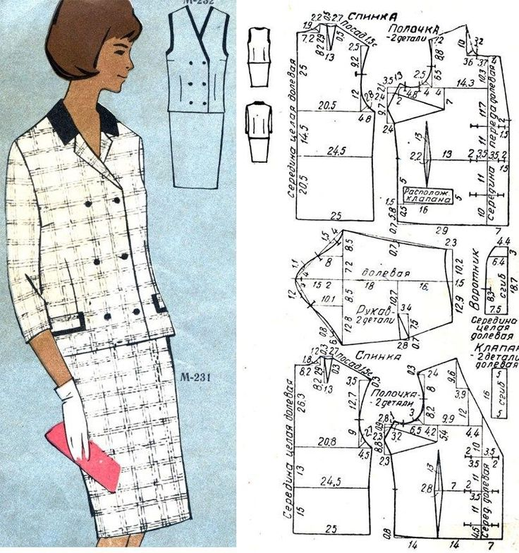 Жакет и жилет из шерстяной ткани в клетку и жилет. Жакет приталенный, воротник и карманы отделаны гладкой тканью. Размер 48, рост III. Расход ткани: на жакет - 1,25 м, на жилет - 1,0 м при ширине 140 см