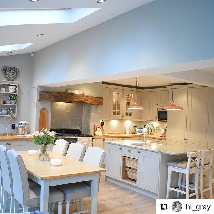 Thanks @hl_gray for sharing her kitchen with us - looks fantastic! #openplankitchen #kitchenisland #shakerkitchen #greykitchen #howdensjoinery