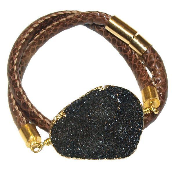 Druzy leather bracelet