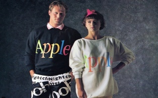 What? Apple had a clothing line in the 80's?! Back in 1986, Apple designers took their talents to the closet creating a catalog full of extra short-shorts and trucker hats with rainbow-shaded Apple logos.     They called i