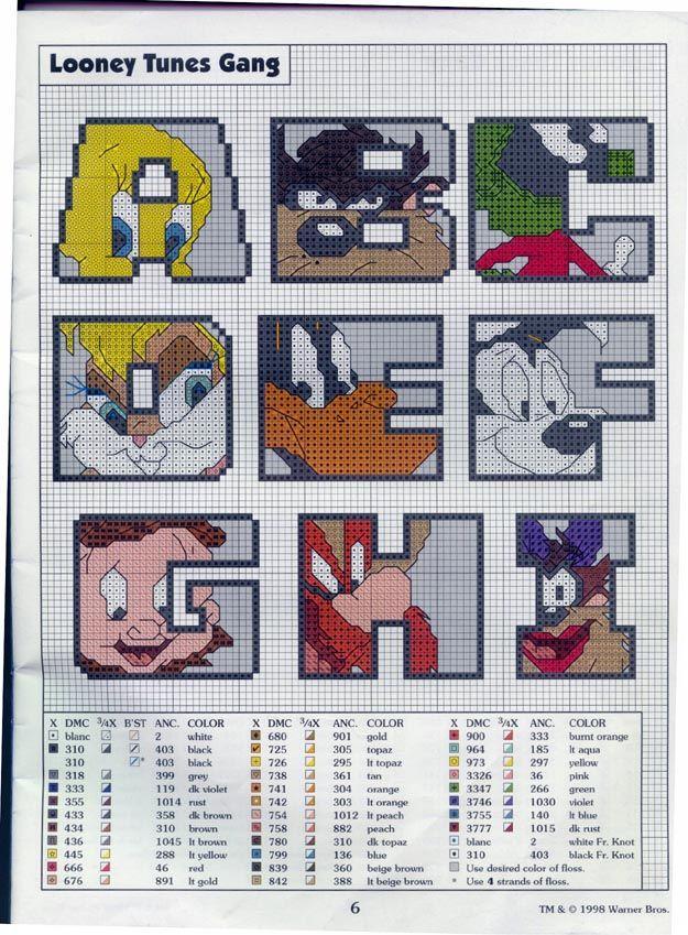 looney tunes alphabets free cross stitch part one