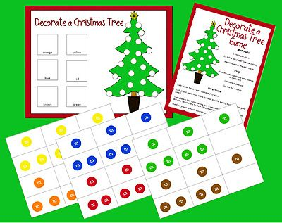 Criss-Cross Applesauce: M Game: Decorate a Christmas Tree (Freebie). counting, reading color words, following directions, sorting by color