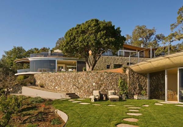 stone wall and beautiful garden