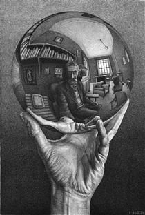 Hand with Reflecting Sphere M.C. Escher · 1935