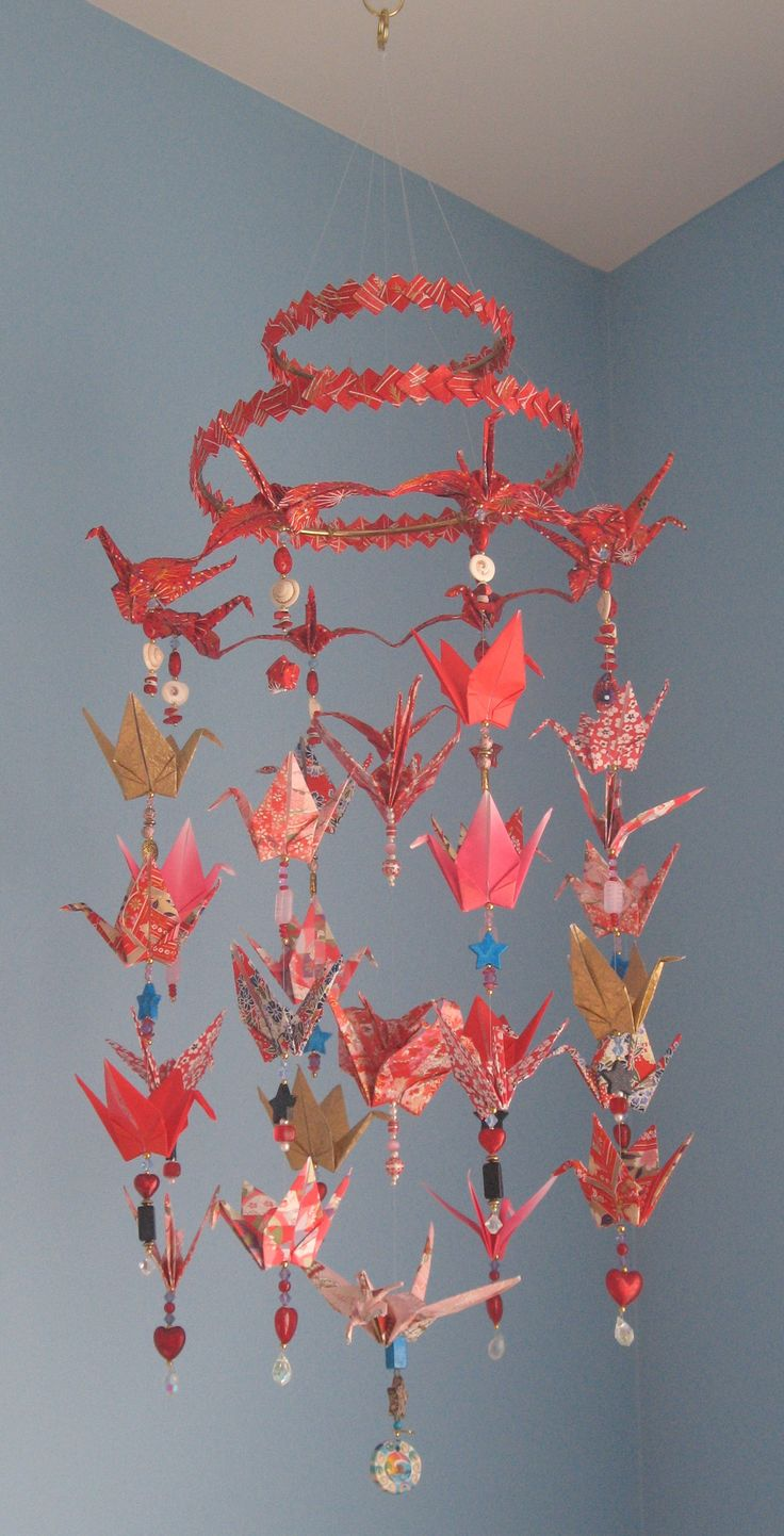Another Origami Crane Mobile... I really like the top to this one.