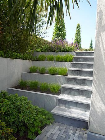 Green and concrete Steps | adamchristopherdesign.co.uk