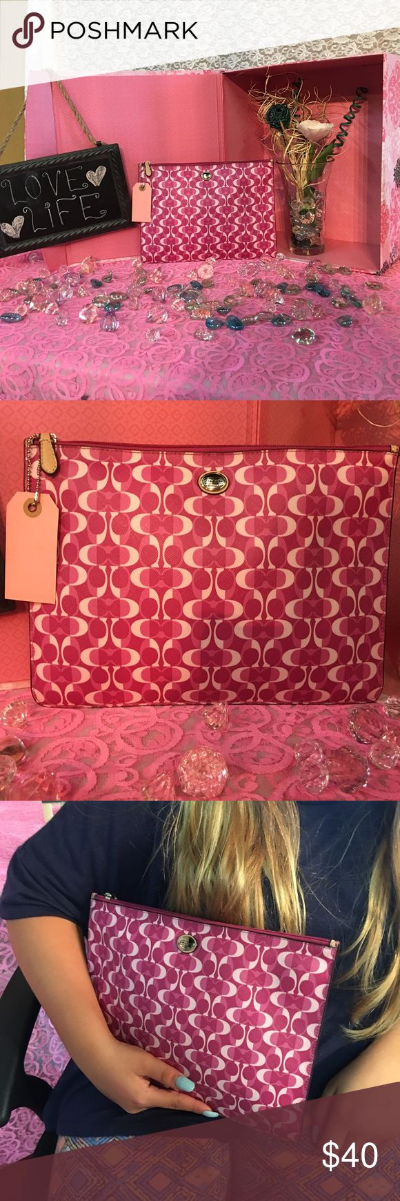 Coach makeup bag/clutch Raspberry and pink colored coach clutch/makeup bag super cute new without tags Coach Bags Cosmetic Bags & Cases