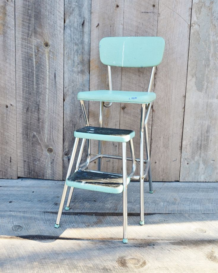 Aqua Cosco Step Stool Chair Vintage Kitchen Stool Fold Out