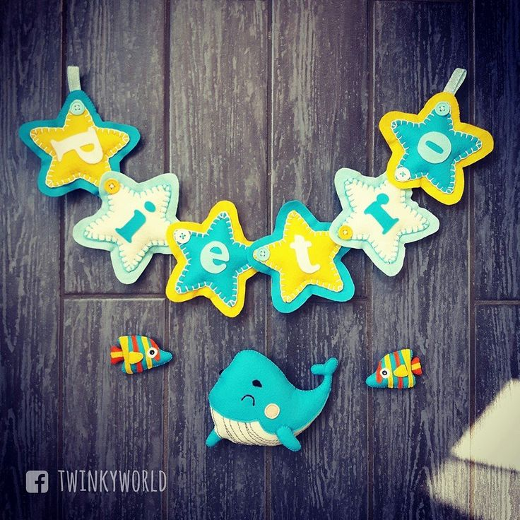 Felt garland - baby name - Pietro with fish&whale - name banner