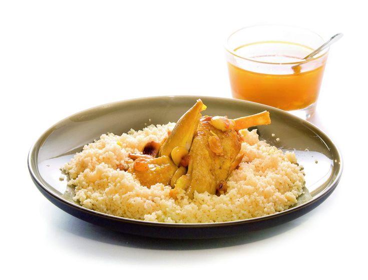 Couscous de poulet amandes, raisin et safran par Alain Ducasse