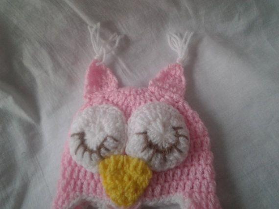 Crochet sombrero de bebé búho buho del sombrero del