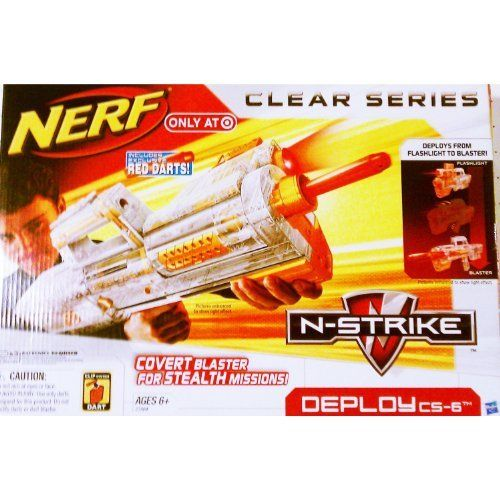 """Nerf N-Strike Clear Series: Deploy CS-6 by Hasbro. $22.67. When your mission calls for stealth, this DEPLOY CS-6 blaster is just the right """"weapon"""" to choose! Convert this pump-handle blaster into a flashlight when you need to track your target through darkened tunnels or in the dead of the night. When you finally find your mark, quickly convert it back to blaster, line up the tactical rail and fire your exclusive red darts at a moment's notice. Prepare yourself for any cir..."""