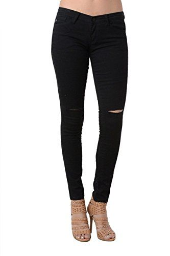 4648ad923bcc KAN CAN Women s Mid Rise Destroyed Skinny Jeans KC6008