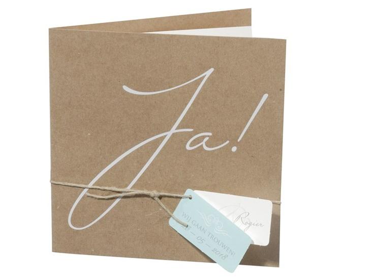 97.1469 JA', kartonnen trouwkaart, touw, naam kaartjes - Trouwkaarten.Familycards.nl