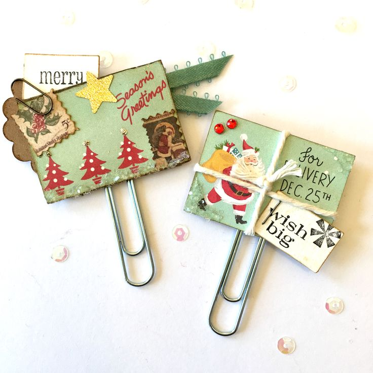 Christmas Holiday Paper Clips Planner Embellishments by Jackie Benedict
