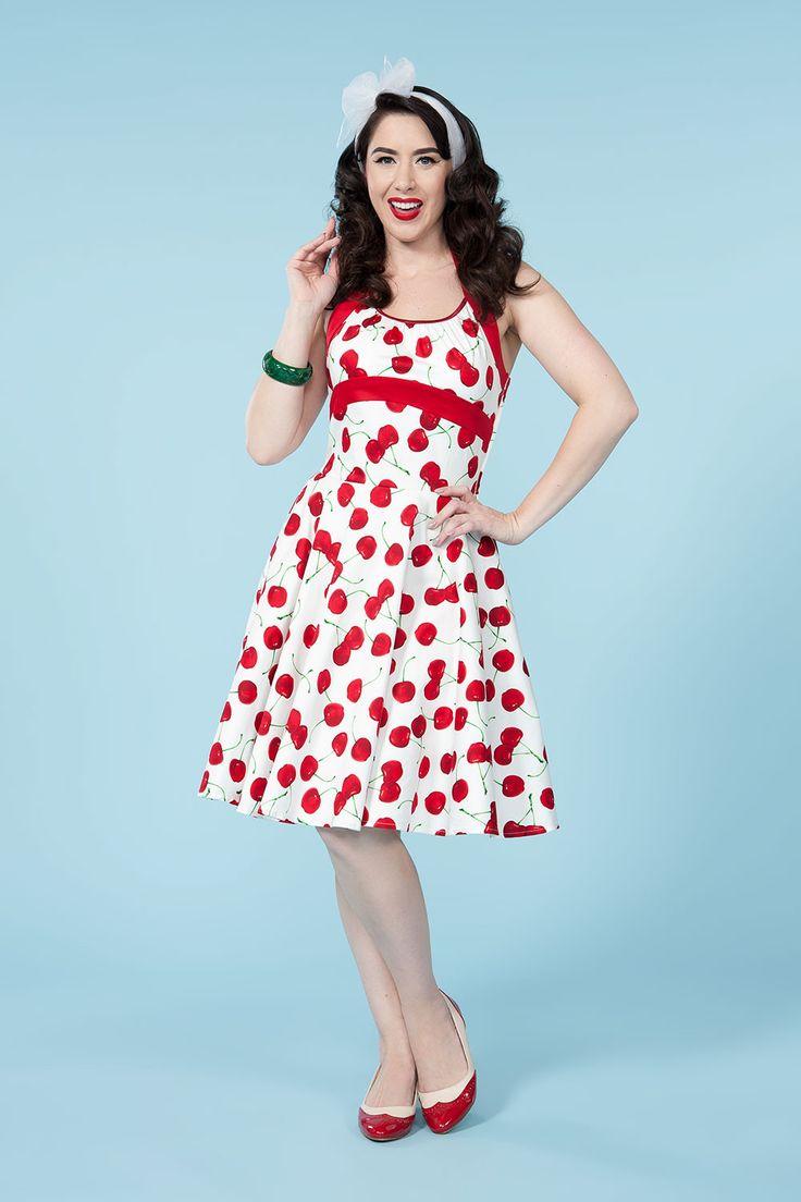Vintage Halter Dress in White Cherry