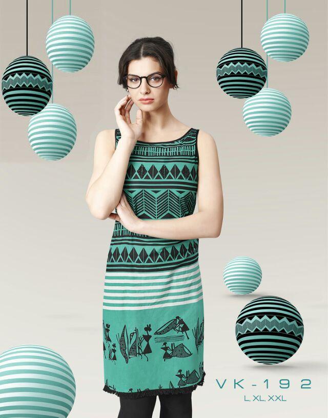 Fancy Green Digital Printed Designer Cotton Kurti