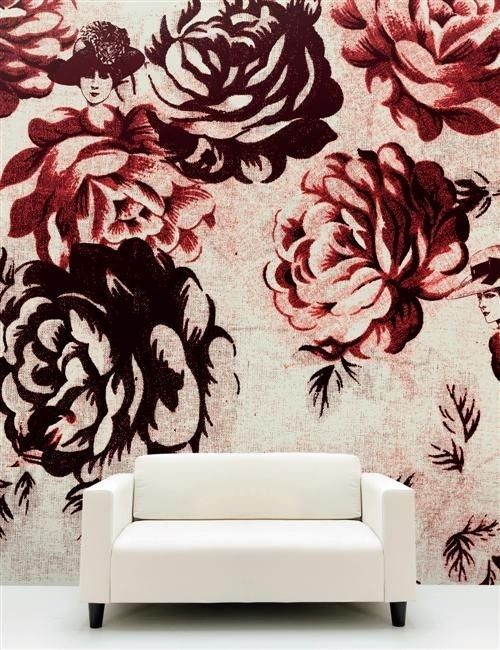 Wall treatments | Rose print. This would be so chic with monochromatic minimal decorations. - MM