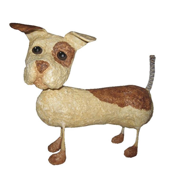 Puppy Dog Paper Mache Sculpture
