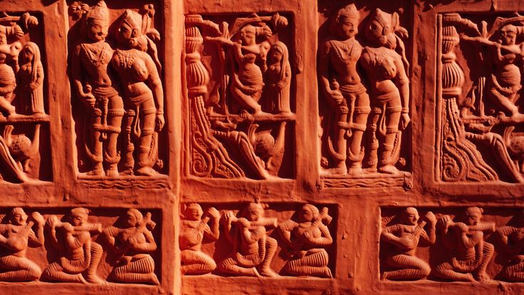 #ancient #art #buddha #buddhism #carvings #culture #decoration #group #historical #history #man #painted #people #red #religion #sculptures #spirituality #statue #stone #temple #traditional #travel #wall