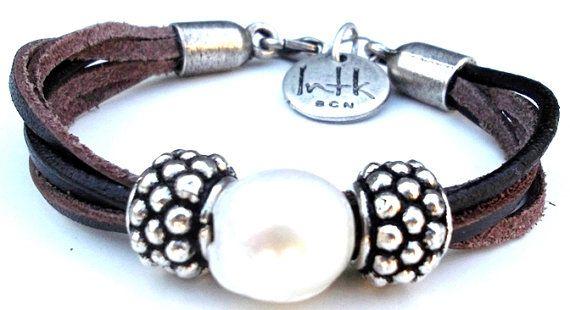 leather bracelet colmena by inatanka on Etsy