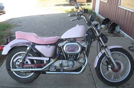 Pink Harley Davidson Motorcycle | ... pink Harley Davidson 1983 XLX Ironhead 1000 Sportster Motorcycle by