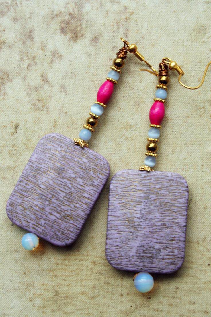 Earrings with natural and wood beads