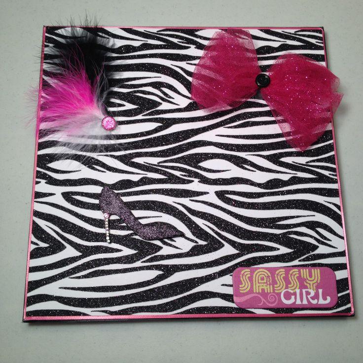 Zebra print magnet board with embellished magnets