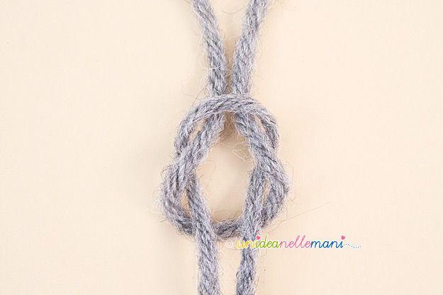 nodo piano, unire fili, lavori a maglia