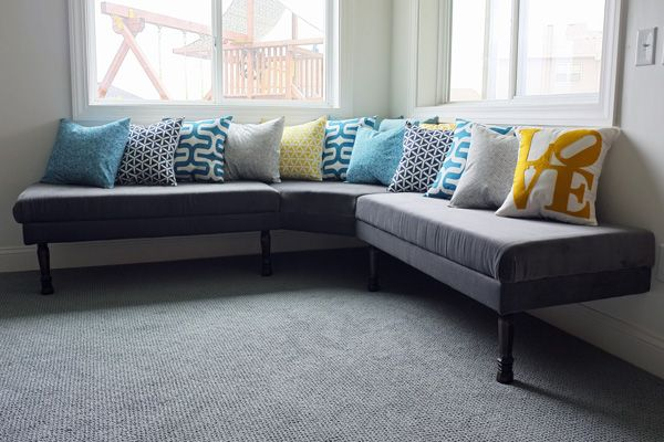 DIY upholstered banquette - great tips -- especially about using ikea foam mattress rather than the totaly expensive foam at A.C Moore and such