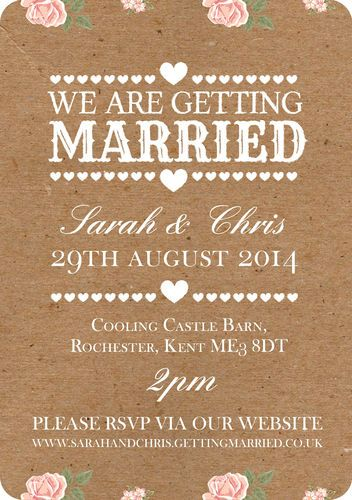 50 Personalised Rustic Vintage / Country Shabby Chic Wedding Invitations! | eBay