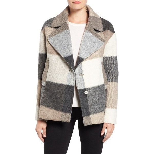 Women's Laundry By Shelli Segal Plaid Swing Coat (£120) ❤ liked on Polyvore featuring outerwear, coats, camo combo, wool coat, white coat, plaid swing coat, tartan coat and tail coat