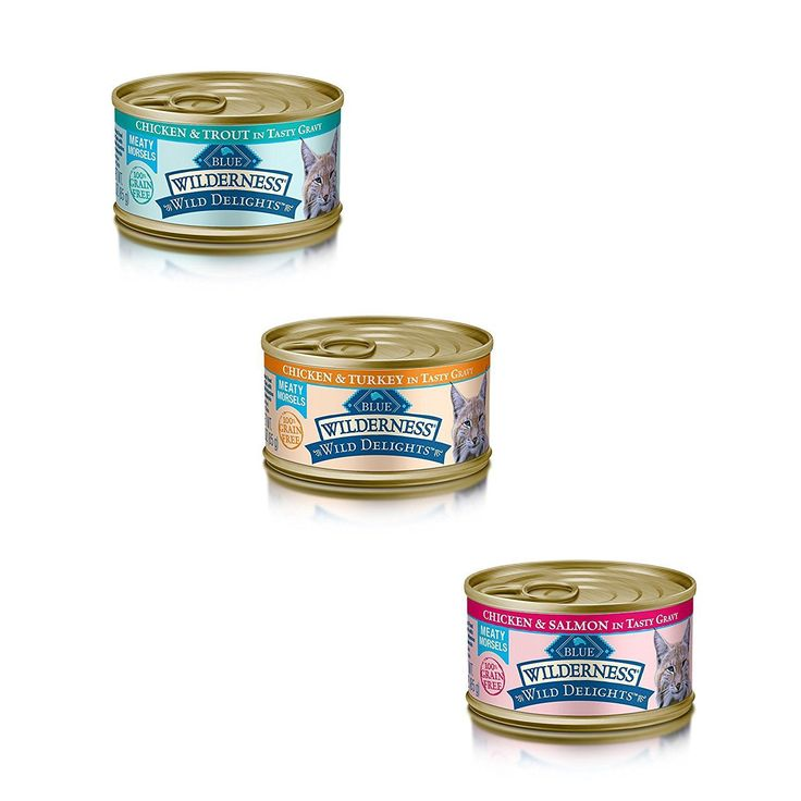Blue Buffalo Wilderness Grain-Free Wild Delights Variety Pack Cat Food - 3 Flavors (Chicken and Trout, Chicken and Salmon, and Chicken and Turkey) - 12 (3 Ounce) Cans - 4 of Each Flavor ** Read more reviews of the product by visiting the link on the image. (This is an affiliate link and I receive a commission for the sales) #PetCats