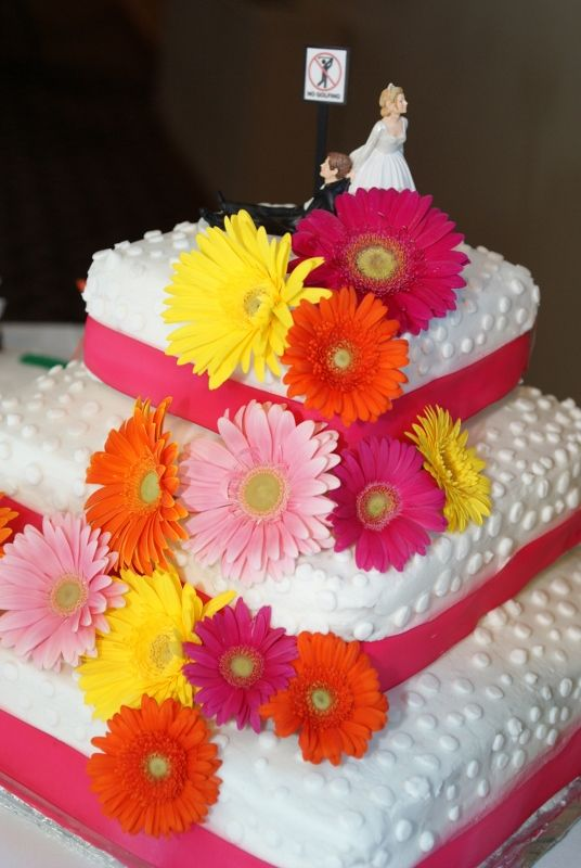 pink gerbera daisy wedding cakes pink orange and yellow gerbera cake flowers by 18575