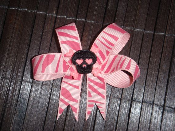 Pink Zebra Skull Loop HAir bow by BojanglesBows on Etsy, $4.00
