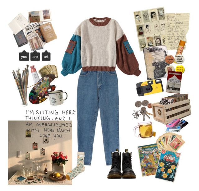 """""""garden of sundrops"""" by nadyaarw on Polyvore featuring Dr. Martens, Bonne Maison, Burt's Bees, Kodak, MABEL, Crosley Radio & Furniture, CASSETTE and Marvel"""