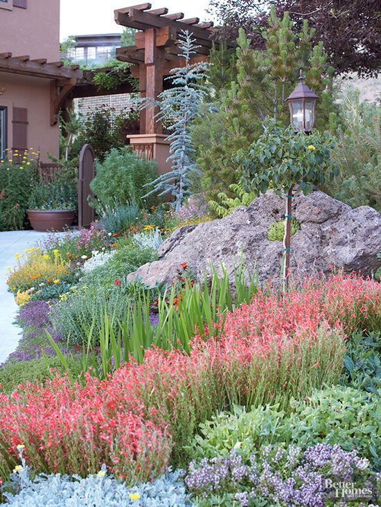 drought-resistant plants are staged around boulders that help block runoff after storms