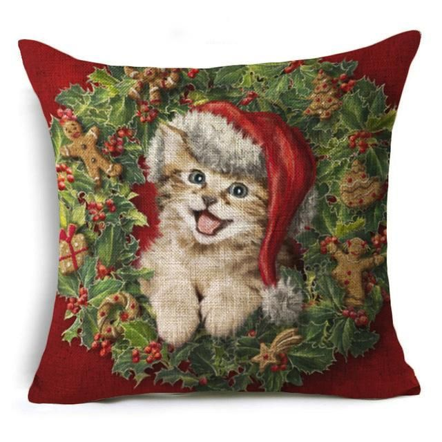Christmas Deer Cushion Cover Xmas Merry Christmas Santa