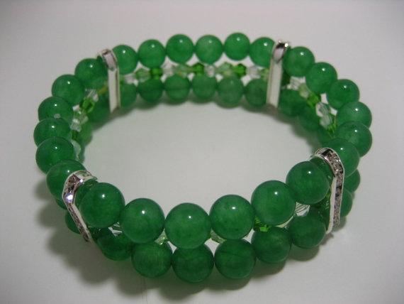 3Strand Jade Green Bracelet with Swarovski Crystals by rockmybeads, $17.00: Green Bracelets, 3Strand Jade, Jade Green, Swarovski Crystals, Etsy Team, Team Member, 3 Strands Jade, Favorite Recipes, Handmade Originals