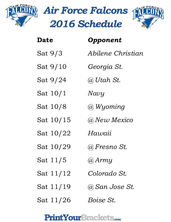 Printable Air Force Falcons Football Schedule 2016 https://www.fanprint.com/licenses/air-force-falcons?ref=5750