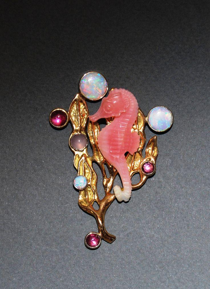 Opal Seahorse Brooch in 18kt