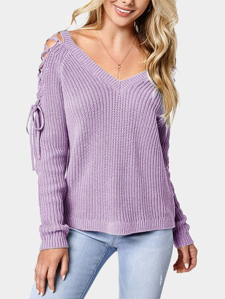 Light Purple Shoulder Cutout & Lace-up Detail Long Sleeves Sweaters