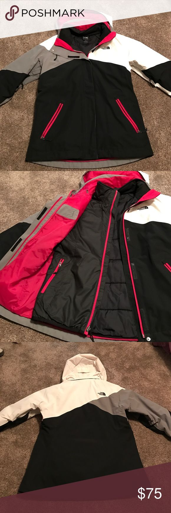 Women's North Face winter coat 3 in 1 Women's North Face 3 in 1 winter coat. Bought this 2 winters ago but only wore it for one winter. This is in EUC. Has the removable inner liner. Very warm for winter. Has a detachable hood. The colors are so cute! Size Medium North Face Jackets & Coats